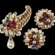 Napier Dangling Bead Cornucopia Brooch and Earrings Set