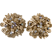Napier Floral Motif Gold Plated Earrings with Rhinestones Vintage