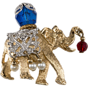 Napier 1960s Lucky Elephant Brooch Pin