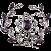 Napier 1950s Purple Rhinestone Garland Brooch Pin