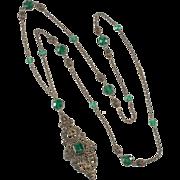 Napier 1920s Emerald Green Rhinestone Sautoir Necklace