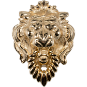 Napier 1970s Golden Lion Door Knocker Brooch Pin