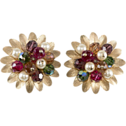 SALE Napier Cornucopia Beaded Cluster Earrings