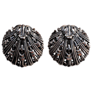 SALE Napier Silver-Plate Nouveau Shell Earrings