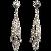 """Ora Art Deco 2.5"""" Rhinestone Drop Earrings"""