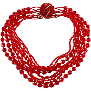 Ornella Italy Red Graduated Glass Bead Necklace