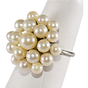 Cultured Pearl Cocktail Ring Sterling Silver Size 6