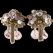 SALE Purple Beaded Dangle Earrings