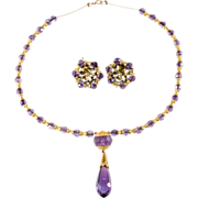 SALE Purple Glass Gold Filled Pendant Necklace & Earrings Set