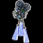 Original by Robert Blue Green Rhinestone Glass Dangle Brooch Pin Pendant
