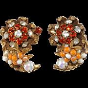 SALE Original by Robert Orange & White Rhinestone Earrings