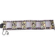 Schauer New York Purple Glass Rhinestone Bracelet Vintage 1950s