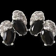Schiaparelli LARGE Black Silver Leaf Earrings 1950s Vintage