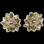 SALE Schiaparelli Green Cluster Rhinestone Earrings