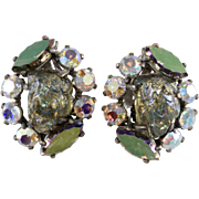 Schiaparelli Lava Rock Iridescent Rhinestone Earrings Vintage 1950s