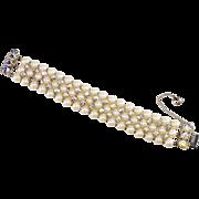 Schiaparelli Bracelet Faux-Pearl Iridescent Rhinestone Vintage