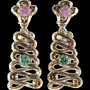 Schiaparelli Ribbon Multi-Color Crackle Glass Earrings Vintage