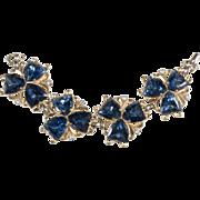 Schiaparelli Sapphire Blue Rhinestone Bracelet