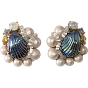 Schiaparelli Art Glass Shell & Bead Earrings