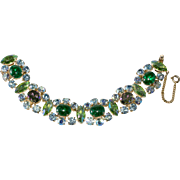 Schiaparelli Green Crackle Glass Blue Rhinestone Bracelet