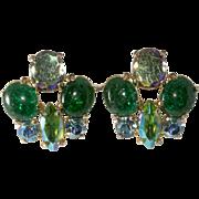 Schiaparelli Green Crackle Glass Rhinestone Earrings