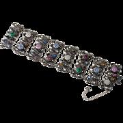 Schiaparelli WIDE Multi-Color Crackle Glass Rhinestone Bracelet 1950s Vintage