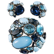 SALE Schreiner Blue Rhinestone Collage Brooch & Earrings Set