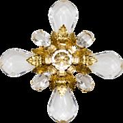 SALE Schreiner Clear Lucite & Rhinestone Maltese Cross Brooch