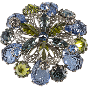 Schreiner Filigree Blue Green Rhinestone Brooch