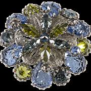 Schreiner Filigree Blue Green Rhinestone Brooch