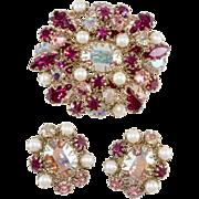 Schreiner Fuchsia Pink Rhinestone Brooch Earrings Set Vintage
