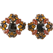 SALE Schreiner Orange & Black Rhinestone Earrings