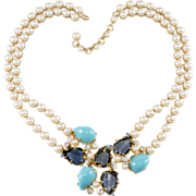 SALE Schreiner Leaf Stone & Faux Pearl Necklace