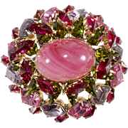 Schreiner Pink Red Purple Rhinestone Brooch Pin Vintage