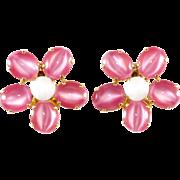 Schreiner Pink Flower Earrings Vintage 1960s