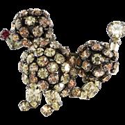 Schreiner Rhinestone Poodle Dog Brooch Pin