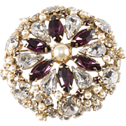Schreiner Purple Clear Rhinestone Faux Pearl Brooch Pin