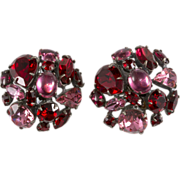 SALE Schreiner Red & Pink Rhinestone Collage Earrings