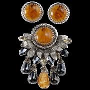 SALE Schreiner Flawed Topaz Dangle Brooch & Earrings Set
