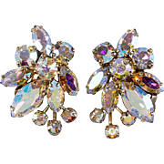 Sherman Aurora Borealis Iridescent Rhinestone 1950s Earrings