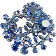 SALE Sherman Blue Aurora Borealis Rhinestone Brooch Pin