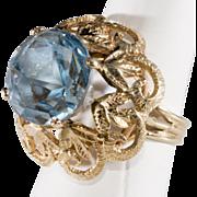 Star Cut Blue Topaz 10K Gold Ring