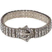 Art Deco Revival Sterling Silver Buckle Clasp Bracelet