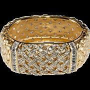 Swarovski Signed Woven Rhinestone Cuff Bracelet