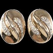 SALE Trifari 1940s Oval Rhinestone Earrings