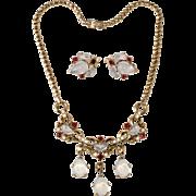 Trifari Clair de Lune Necklace and Earrings Set Vintage 1950