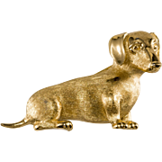 Trifari 1960s Dachshund Dog Brooch Pin