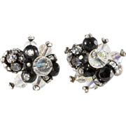 Vendome Black Bead Rhinestone Ball Earrings