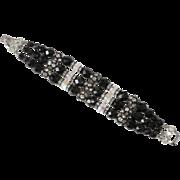 Vendome Black Beads & Clear Rhinestone Bracelet
