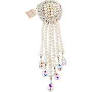 Vendome 7.5 Inch Faux Pearl Crystal Dangle Brooch